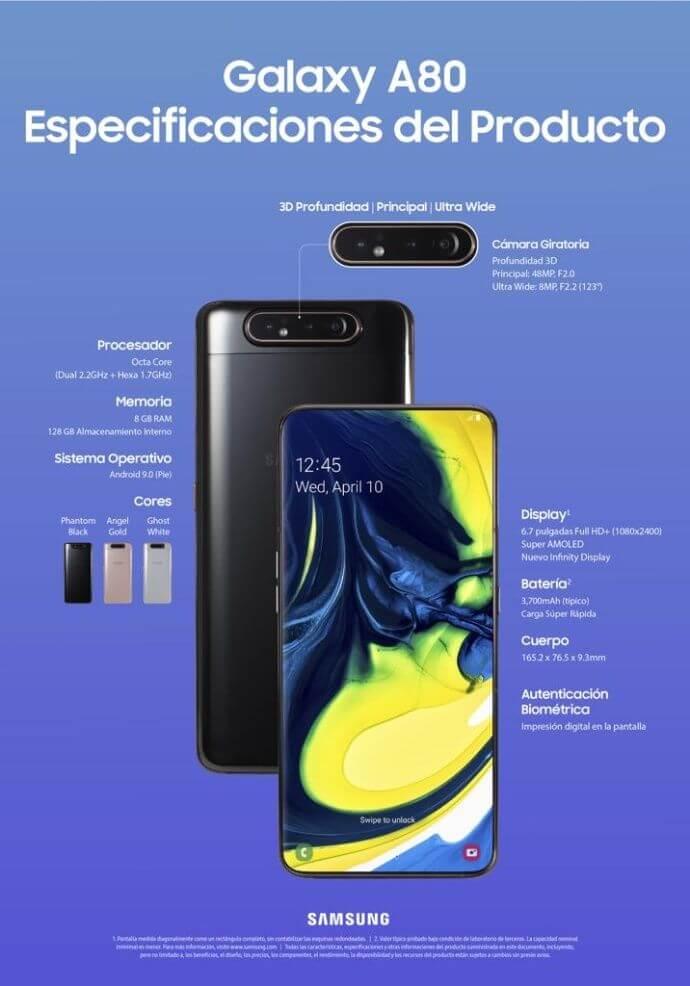 Samsung sorprende con una triple cámara giratoria en su Galaxy A80