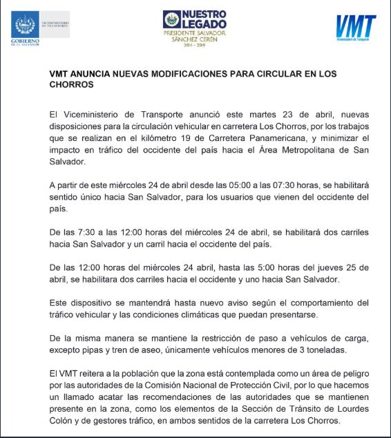Se anuncian nuevos horarios de circulación para Carretera Los Chorros