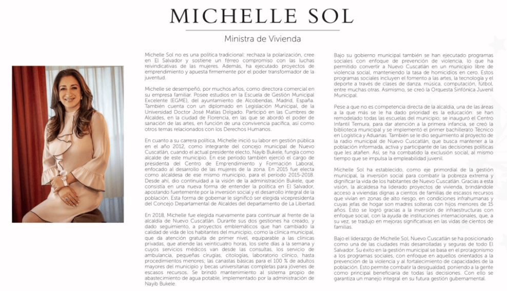 Michelle Sol será la ministra de Vivienda