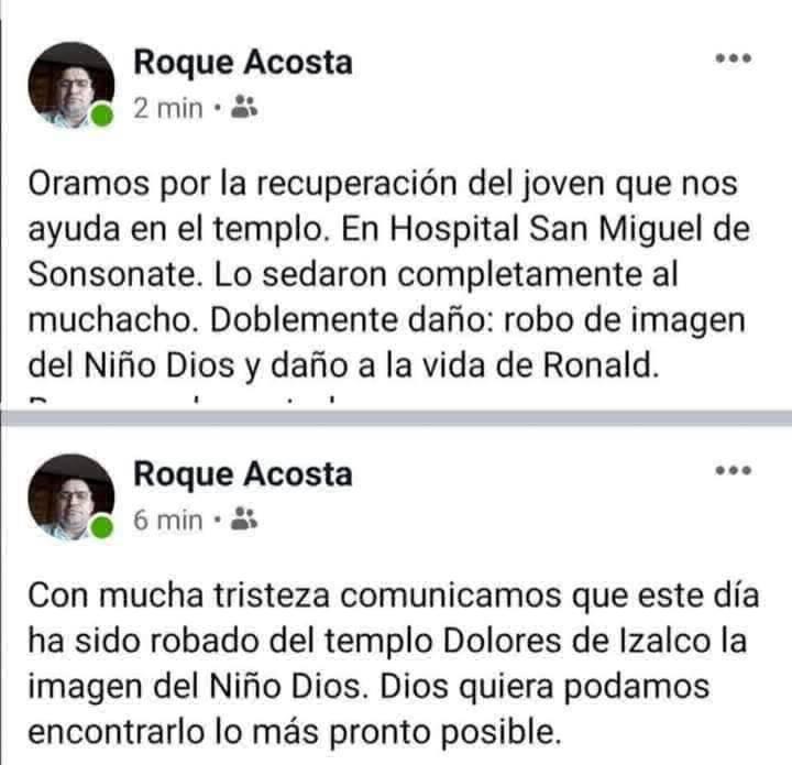 Mujeres hurtar la imagen del Niño Dios de la iglesia Dolores sedando a sacristán en Izalco